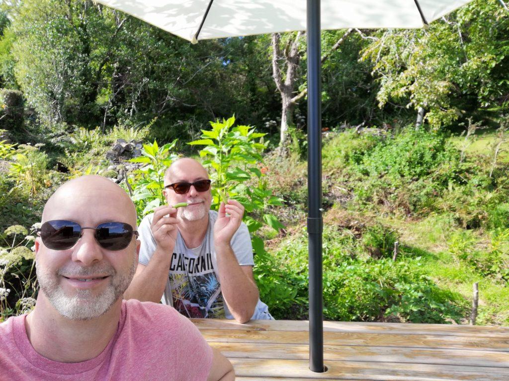 Barry et Jens dans le jardin du Valhalla